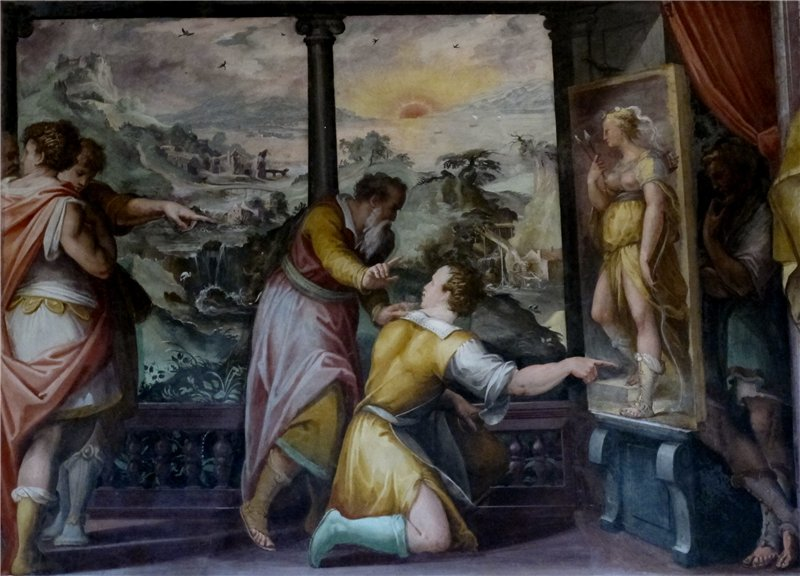 Apelles with the shoemaker, mural by Giorgio Vasari